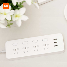 Original Xiaomi Power Strip Socket Plug 4 Ports 4 Sub-control Switch 3 USB Jack Quick Charge 2.0 Outlet Extension Safety Door original genuine xiaomi mikey quick shortcut button 3 5mm earphone plug blue