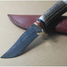 Straight Handmade forged Damascus Steel hunting knife fixed blade knife 59HRC ebony handle free shipping