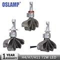 Oslamp H4/H7/H11 72W CREE Chips Car Led Headlight Bulbs 8000LM 6500K Single Hi-Lo Beam Auto led Headlamp Fog Light Bulb 12v 24v