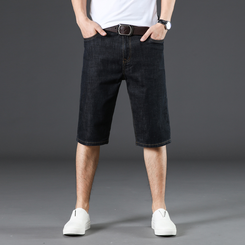 New men plus Size 44 No Belt Hole Denim loose Shorts Male short jeans New summer casual Light blue Washing cowboy short pants