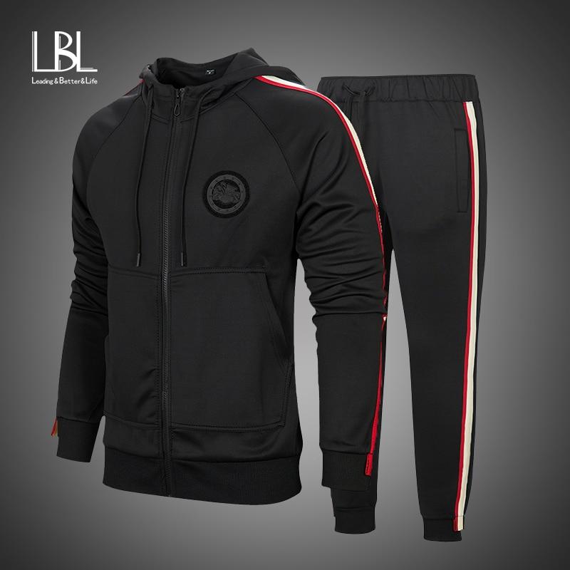 Tracksuit Men 2 Pieces Set New Fashion Hooded Jacket Sportswear Men Tracksuit Hoodie Autumn Men Brand Clothes Hoodies+Pants Sets