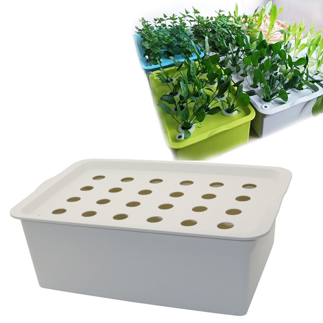 24 Holes Plant Site Hydroponic Kit Garden Pots Planters Seedling Indoor Cultivation Box Grow Bubble Nursery 1 Set