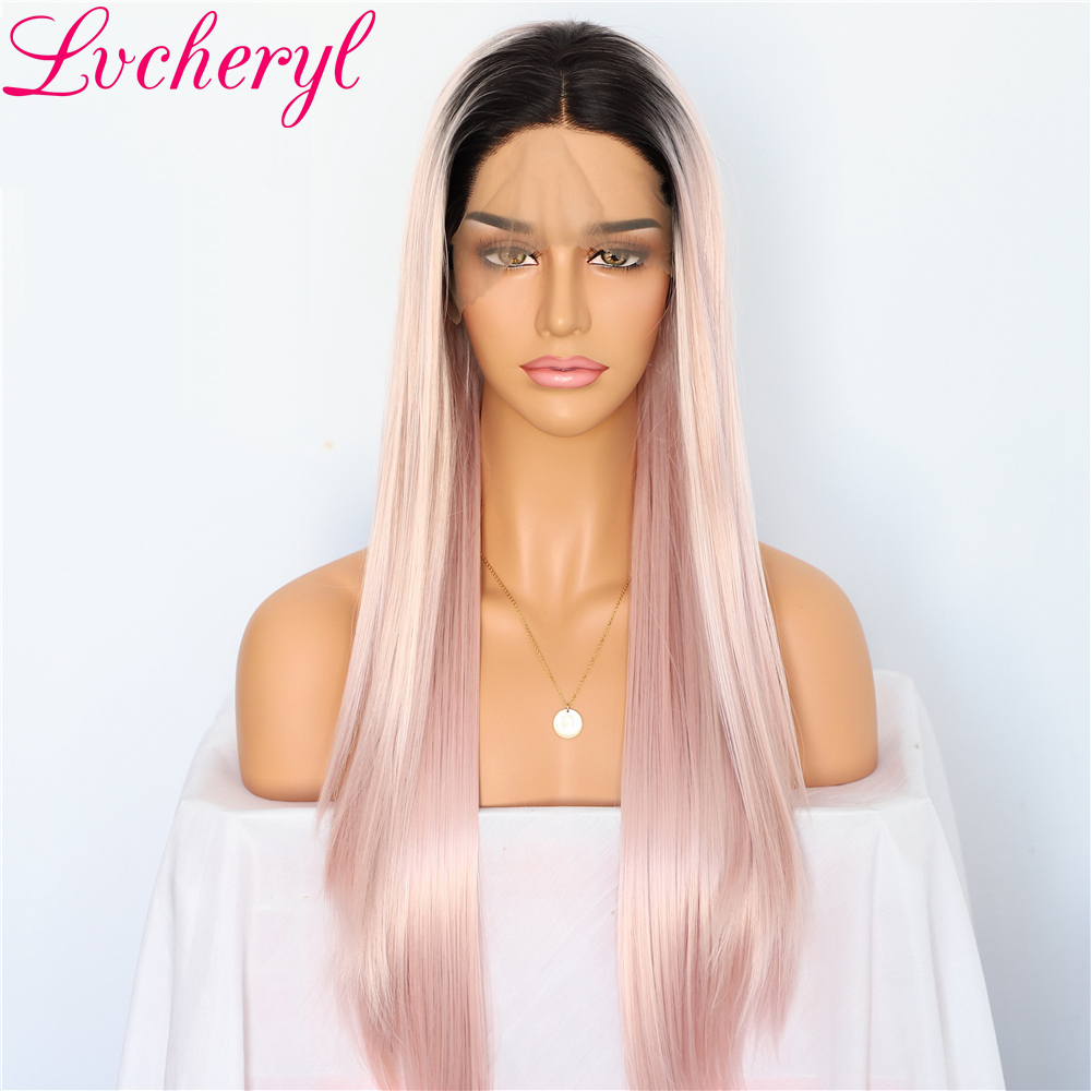 Lvcheryl Ombre Dark Roots To Pink Natural Long Silky Straight Full Density Glueless Synthetic Lace Front