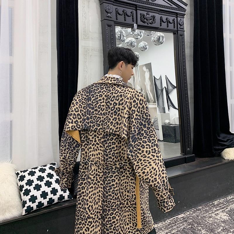 Männer Leopard Print Lange Lose Graben Mantel Männlichen Vintage Mode Casual Windjacke Strickjacke Jacke-in Trench aus Herrenbekleidung bei  Gruppe 2