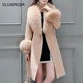 Cluxercer Супер Большой Меховой Воротник Женщина Шерсти Пальто Тонкий Пояс Элегантный Кашемировый Пальто Долго Стиль Сплошной Цвет С Капюшоном Верхняя Одежда