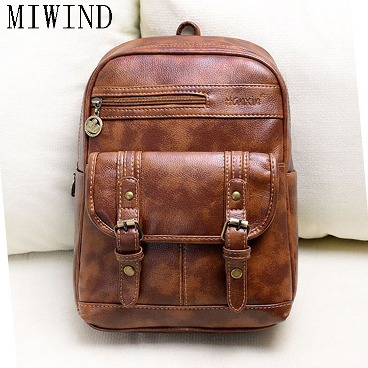 High Quality Vintage Fashion Casual Leather Women Men Backpack for Teenage Girls Brand Ladies School Bags Travel Bags  TXH467 high quality iron wire frame sun glasses women retro vintage 51mm round sn2180 men women brand designer lunettes oculos de sol