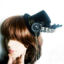 Retro Women Feather Hairclip Steampunk Mini Top Hat Lolita Cosplay Fedoras Hat Gothic Geer Kompass Chain Head Wear Halloween