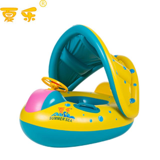 Nova 1 pcs Bebê Segurança Infantil Anel de Natação Float Assento Barco Inflável Toldo Ajustável Piscina Nadar Assento Anel da Nadada