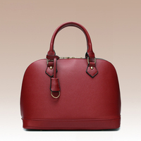 2017 Fashion Soft Genuine Leather Cowhide Shell Shape Lady Handbag Leisure Shopping Solid Color Zipper Top