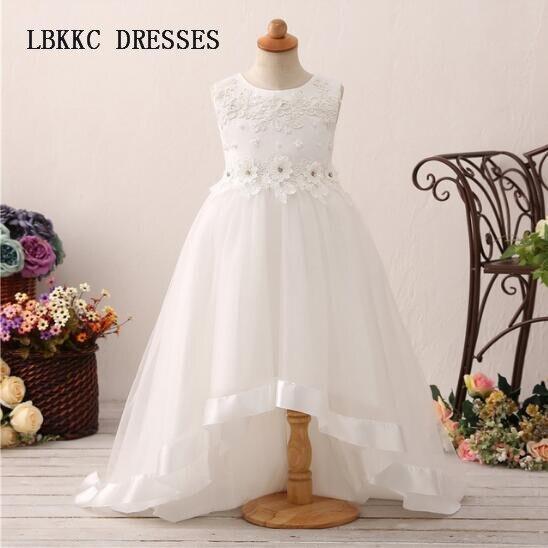 White   Flower     Girl     Dresses   High Low   Girls     Dresses   2018 Pageant   Dresses   For   Girls   Vestidos Primera Comunion Para Ninas 2018