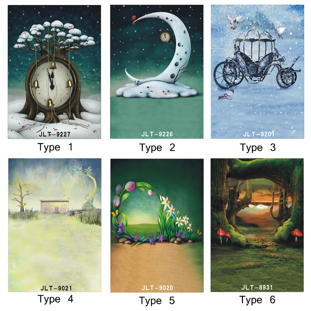 Photo Backgrounds for Photo Studio Fairy Tale Clock Pumpkin Carriage 5X7ft Vinyl Photography Backdrops for Children Baby Newborn