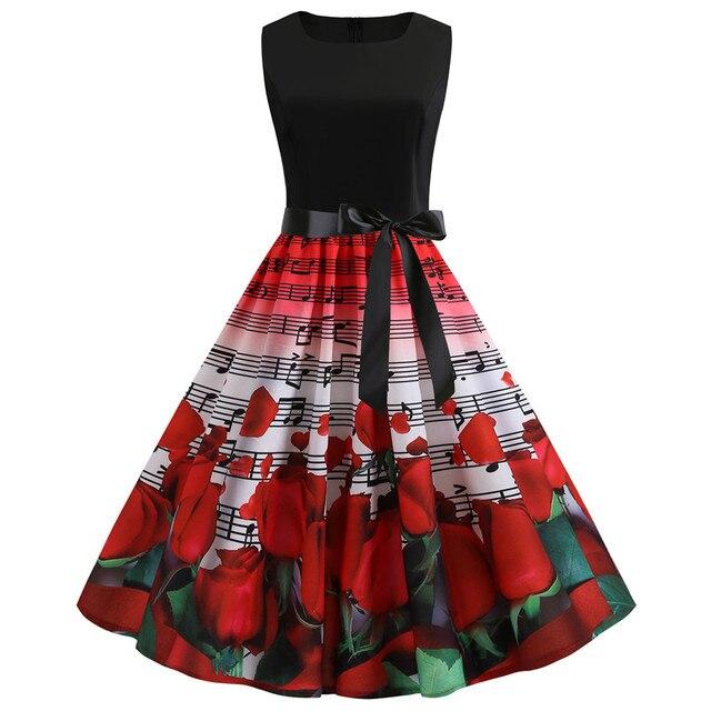 ae410e68a390 € 4.85 27% de DESCUENTO|Verano 2019 Vestido Mujer Vintage 1950 s Retro sin  mangas cuello redondo estampado Floral Swing vestido elegante Streetwear ...