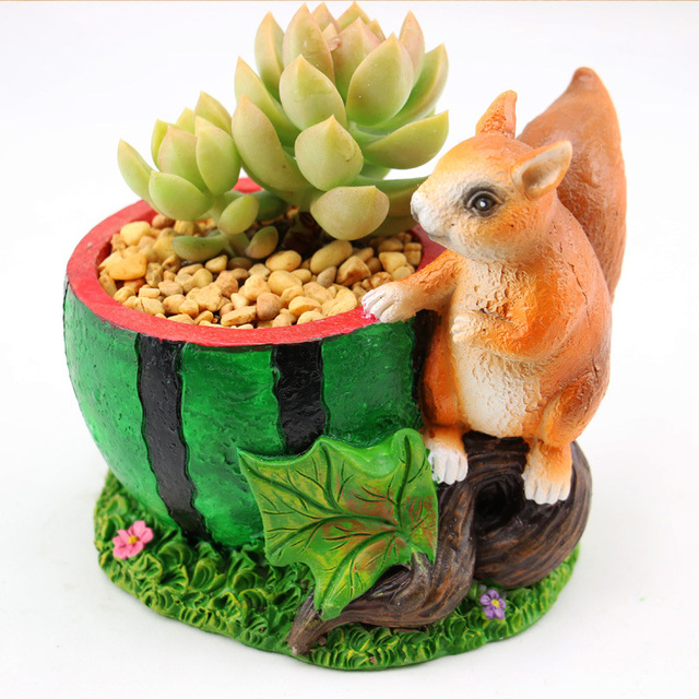 Kawaii Cartoon Adorable Rustic Squirrel And Watermelon Design Plant Flower Pot Succulent Planter