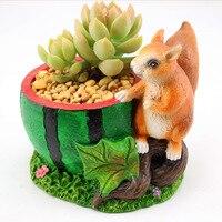 Kawaii Del Fumetto Adorabile Rustico Scoiattolo e Anguria Disegno Fiore Pianta Vaso di Succulente Planter