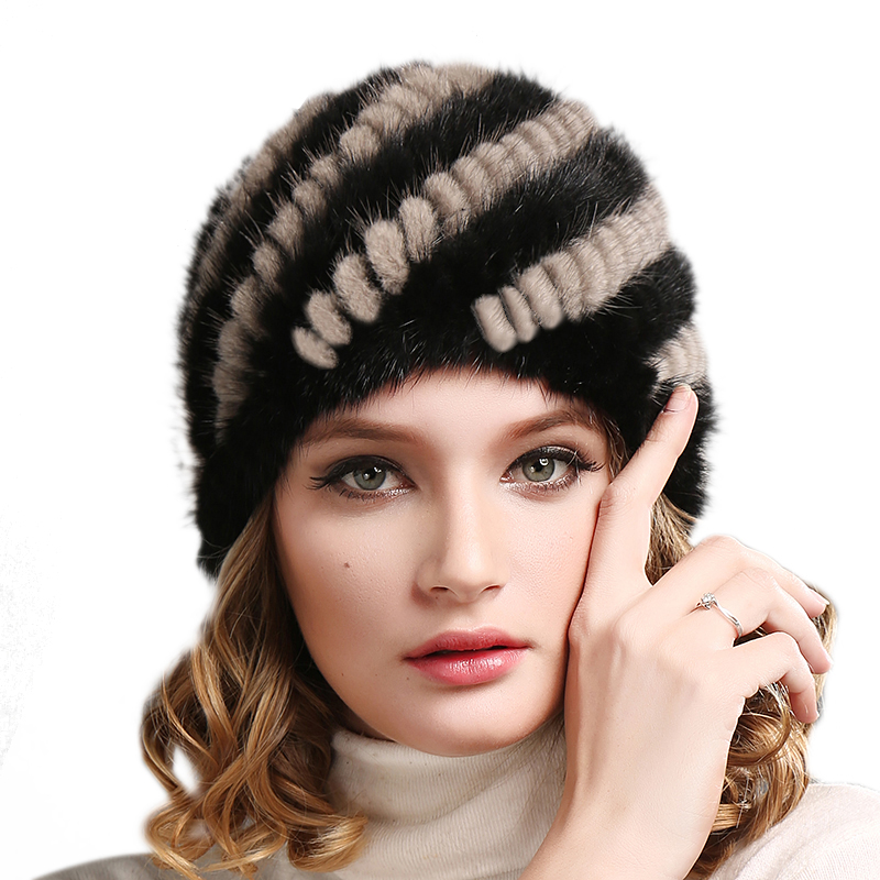 FURTALK knitted mink fur hat for women chic letters print band embellished women s knitted bowler hat