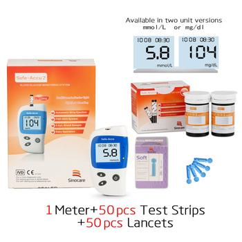 Bezpieczny glukometr do pomiaru glukozy we krwi Accu2 z 50 paski testowe i lancety igły do cukrzycy glukometr krwi wykrywanie cukru we krwi tanie i dobre opinie Safe Accu2 blood glucose test strip Medical PVC 50pcs Test+50pcs Lancets Needles SINOCARE English No codin Diabetics seniors pregnan