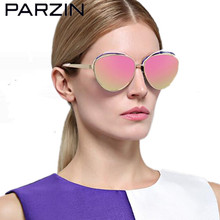 Parzin Polarized Sunglasses Women Metal Female  Sun Glasses Colorful Oversized Ladies Glasses New Eyewear With Case  9838