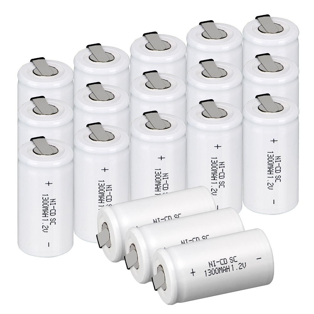 20x Anmas Power SC Rechargeable Battery 1300mAh 1 2V NiCd Rechargeable Batteries Ni Cd Battery White