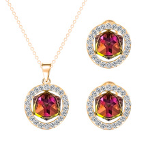 Trendy Blue Tanzanite Sapphire Jewelry Sets For Women Engagement Crystal Zircon Cube Necklace Water Drop Pendant Earrings Set