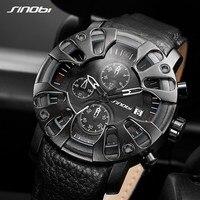 SINOBI S Shock Military Style Men Watch Black Genuine Leather Watchbands Men's Quartz Watches Creative Clock Montre Homme