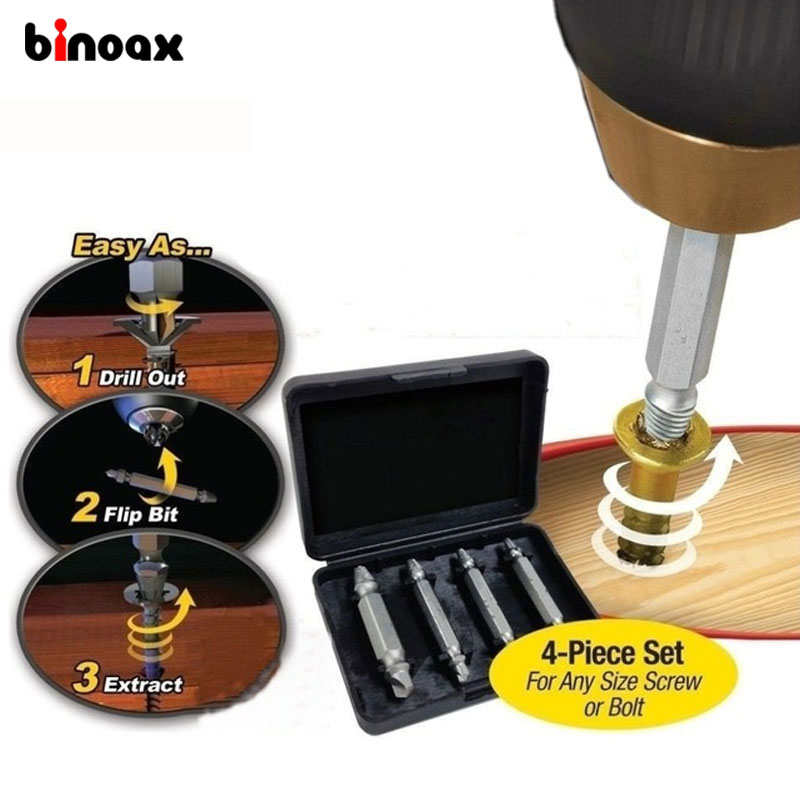 Binoax 4Pcs Screw Extractor Drill Bits Guide Set Broken Damaged Bolt Remover Double Ended Damaged Screw Extractor 1# 2# 3# 4# 5pcs set screw extractor drill bits guide broken damaged bolt remover drop shipping sale