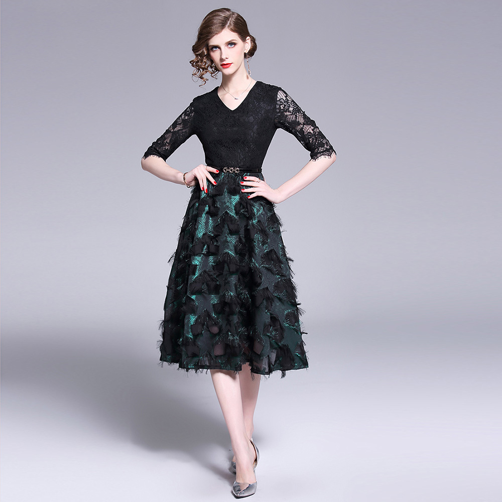 Merchall Fashion Designer Runway Lace Dress Spring Autumn Women Half Sleeve Elegant Hollow out Vintage OL Party Dresses in Dresses from Women 39 s Clothing