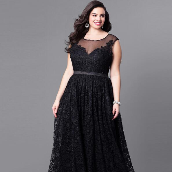 b0372a7e4eedd US $27.97 49% OFF|Plus Size Woman Vintage Dress Black Sleeveless Long  Evening Gown 2018 Big Size Hollow Out Maxi Lace Mesh Vestidos Elegant  AF626-in ...