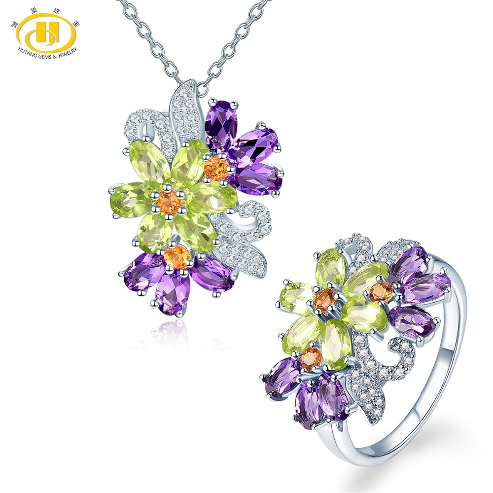 Hutang Natural Gemstone Silver Ring Pendant Jewelry Sets Solid 925 Sterling Amethyst Peridot Fine Fashion Stone Flower Jewelry