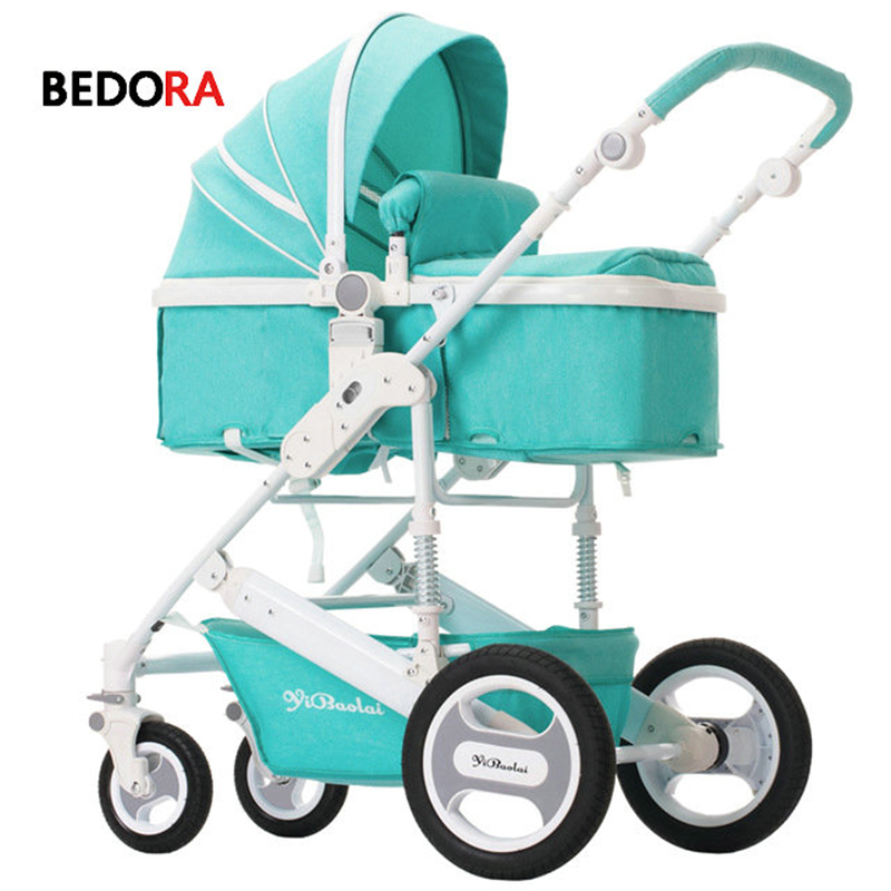 Bedora Baby stroller high landscape stroller can sit and lie down folding two-way four-wheel baby trolley free delivery babythrone baby stroller portable folding stroller can sit and lie down widen and widen the four wheel shock absorbers