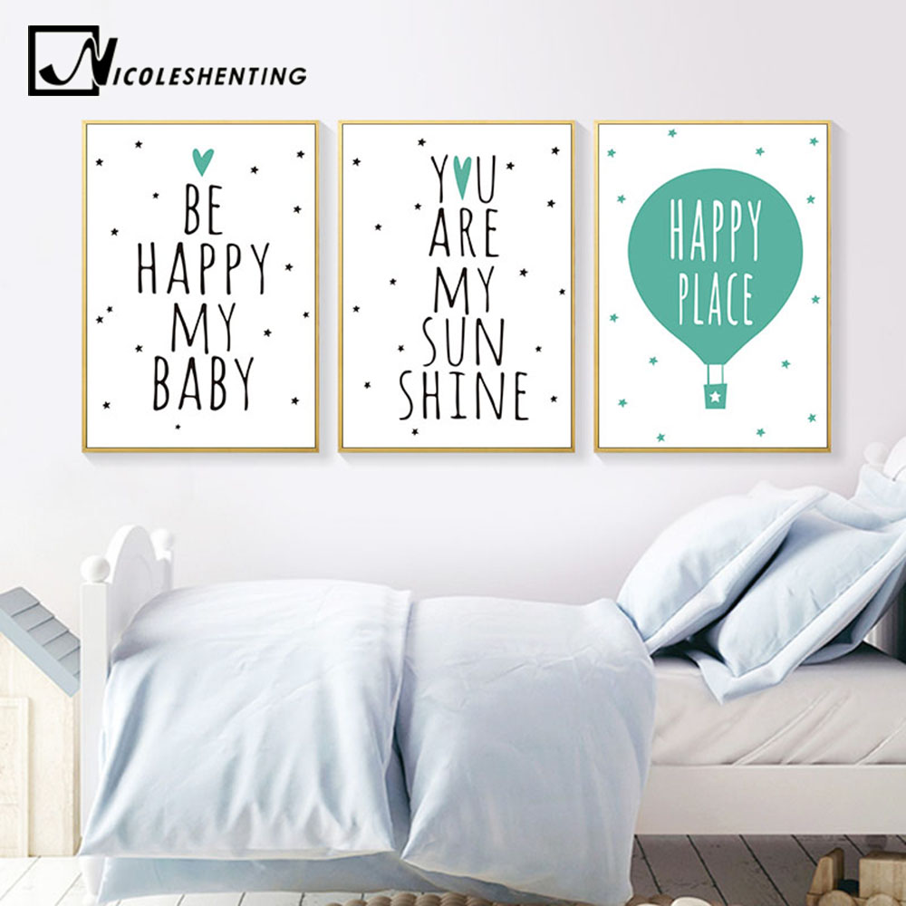 Us 3 41 39 Off Nursery Quotes Balloon Art Canvas Poster Print Minimalist Painting Cartoon Picture Nordic Baby Kids Bedroom Wall Decoration In