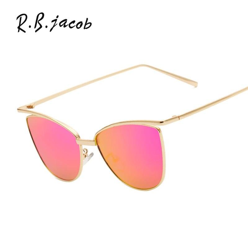 Cat Eye Poilt Sunglasses Mirror Women Flat Hot Sale Fashion Brand Designer Sun Glasses Lady UV400 Metal Frame High quality