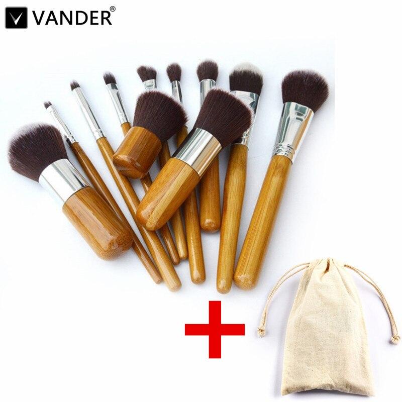 Vander pro 11 pçs pincéis de maquiagem cosméticos ferramentas de bambu lidar com sombra de olhos cosméticos conjunto escova de maquiagem blush kit pincel maquiagem