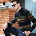 2016 Winter Men's Casual Zipper Collar Sweater Fashion Stripes 100% Merino Wool Thicken Sweater Coat Men 3 Colors M~3XL DB13E968