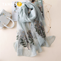 Wool Silk Floral Embroidery Summer Women Scarves Woman Scarf Pareol Shawls Wraps 85x190cm