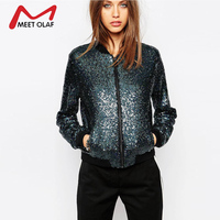 Fashion Women Bomber Jacket Girls Students Bling Sequined Coat Spring Basic Top Female Streetwear Loose Coats Outwear 0F618