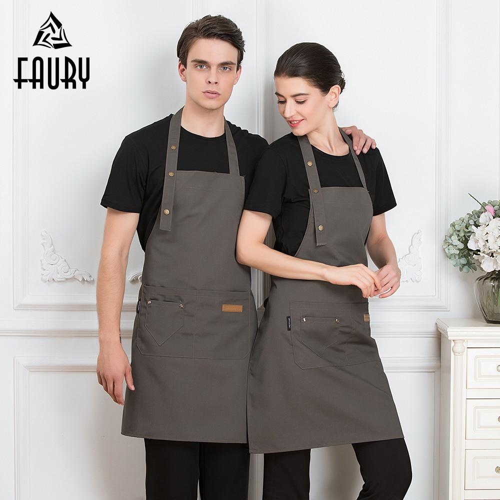 Unisex Chef Apron Restaurant Cozinha Work Wear Men Women Canteen Home Kitchen Cooking Uniform Waiter Waitress Hanging Neck Apron