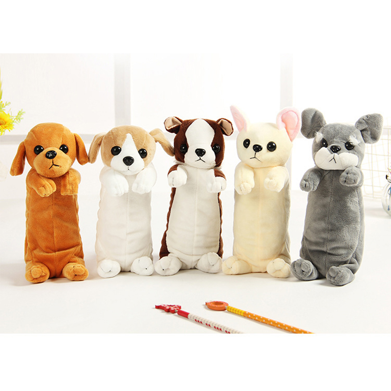 Hot Sale Cartoon Plush Pencil Case Kawaii Plush Dog Cat Stuffed Puppy School Pencil Bags For Kids Toys Gift For Children