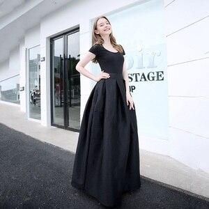 Image 3 - 2020 mode Lange Röcke Frauen Faldas Hohe Taille Gefaltete Womans Bodenlangen Rock Plus Größe Elastische Elegante Damen Jupe Röcke