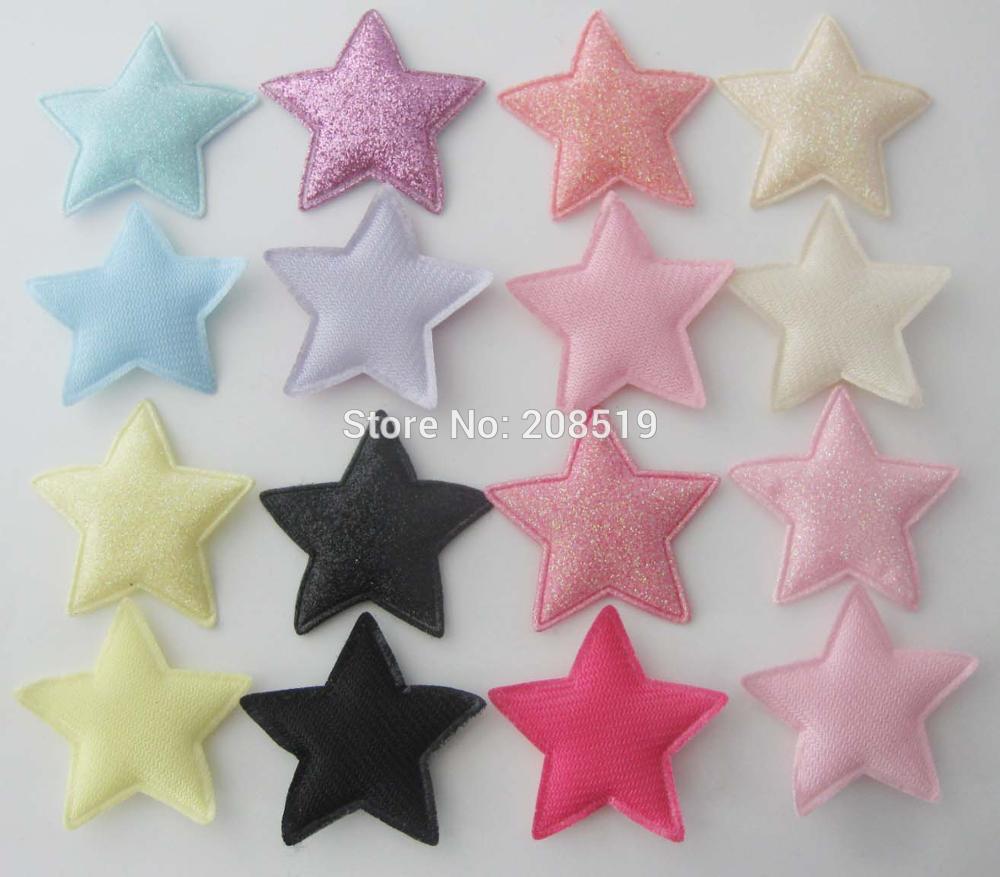 PANNGW микс 80 шт Блестящий фетровый тканевый аппликации около 45 мм звезда патч ручной работы декоративная заплатка для ювелирных изделий для волос - Цвет: mix 8 colors T