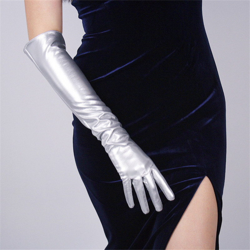 Patent Leather Long Gloves 50cm Long Section Emulation Leather PU Mirror Bright Leather Metal Bright Silver Female Models WPU76