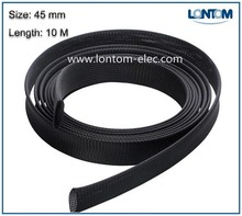 45mm 10M PET Braided Expandable Sleeving Computer Cable Sleeve Black High Density Sheathing