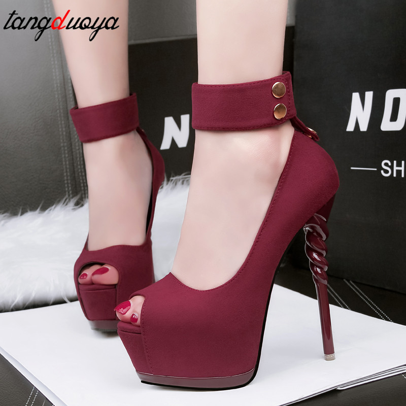 Peep Toe Platform High Heels Women Shoes Designer High Heels Shoes Woman Pumps Escarpins Sexy Hauts Talons Straps Sapatos Mulher