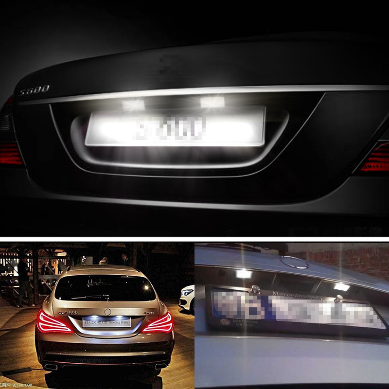 urbanroad 2pcs car led license plate lights for mercedes w211 w203urbanroad 2pcs car led license plate lights for mercedes w211 w203 5d w219 r171 12v no error for benz white number plate lamp in signal lamp from