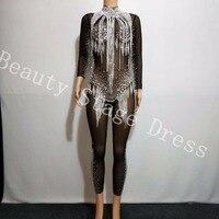 Яркий серебряный стразы кисточкой комбинезон кристаллы черный сетки Боди для женщин праздновать роскошный костюм See Through одежда