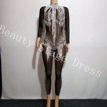 Bright Silver Rhinestones Tassel Jumpsuit Crystals Black Mesh Bodysuit Womens Celebrate Luxurious Costume See Through Clothes