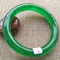 Дорогой 58 60 мм Сертифицированный из натурального прозрачного камня зеленый yu браслет качественный ювелирный/