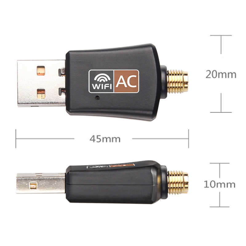 Mini USB WiFi Adapter 5Ghz+2.4Ghz 600Mbps Wireless Dual Band 802.11ac with Antenna RTL8811AU for Desktop/Laptop/PC