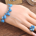 Newest Blue Turquoises Women Bangles With Rings Vintage Antique Silver Plated Mittens Finger Ring Brand Finger Ring Bracelet Set