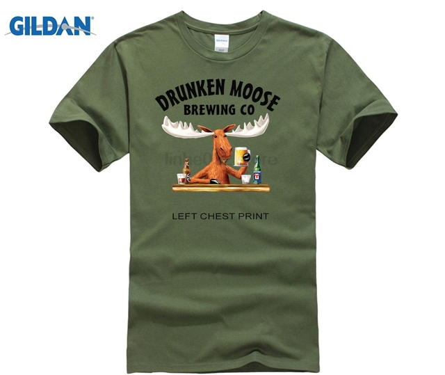45fbb8482 NEW Drunken Moose Brewing Co Men's Funny T-Shirt Beware Moose Dropping Top  s O-Neck Summer Euro Size