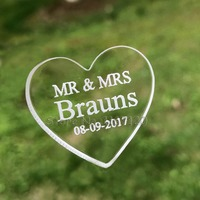 65 200pcs 3cm X 3cm Personalized Engraved MR MRS Clear Acrylic Love Heart Wedding Favors Table